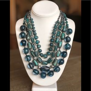 Chico's Teal Beaded Silver Multi Strand Necklace